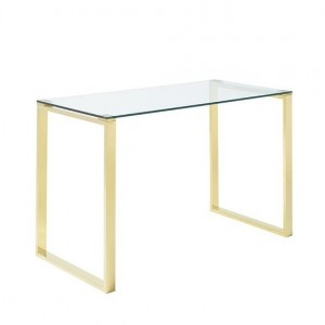 Kayla Clear Glass Computer Desk In Gold Stainless Steel Legs