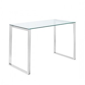 Kayla Clear Glass Computer Desk In Silver Stainless Steel Legs
