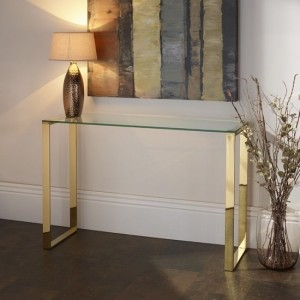 Kayla Clear Glass Console Table In Gold Stainless Steel Legs