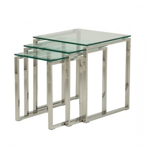 Kayla Clear Glass Nest Of Tables In Silver Stainless Steel Legs