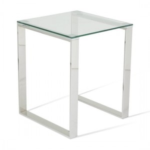 Kayla Clear Glass Top Lamp Table With Silver Frame