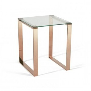 Kayla Glass Top Lamp Table With Rose Gold Base