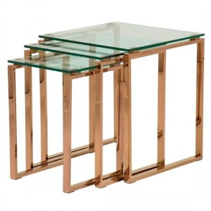 Kayla Glass Top Nest Of Tables With Rose Gold Base