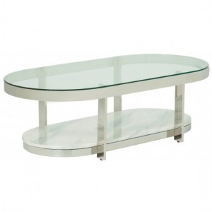Keira Clear Glass Top Coffee Table With Polished Stainless Steel Frame