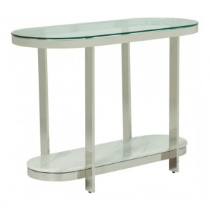 Keira Clear Glass Top Console Table With Polished Stainless Steel Frame