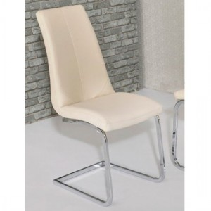 Kelcy Faux Leather Dining Chair In Cream