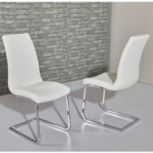 Kelcy White Faux Leather Dining Chair In Pair
