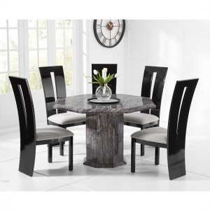 Venezia Grey Marble Dining Table Octagonal And 4 Arizona Dining Chairs