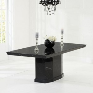 Carvelle Marble Dining Table Rectangular In Black