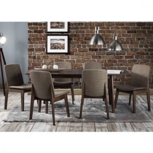Kensington Extending Wooden Dining Table In Walnut With 6 Chairs