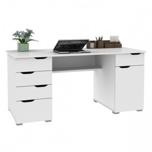 Kentucky Wooden Computer Desk In White Oak and Gloss White