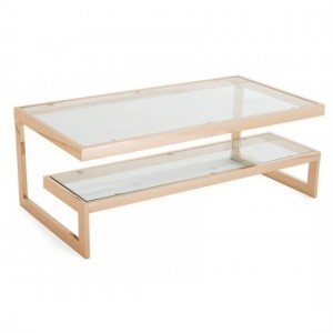 Kera Clear Glass Top Coffee Table With Rose Gold Frame