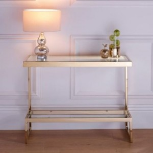 Kera Clear Glass Top Console Table With Rose Gold Frame