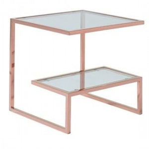 Kera Clear Glass Top Lamp Table With Rose Gold Frame