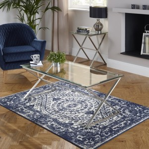 Kiana Glass Top Coffee Table In Clear With Satin Plated Base