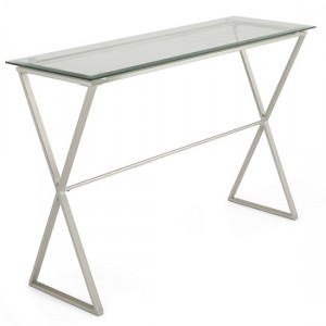 Kiana Glass Top Console Table In Clear With Satin Plated Base