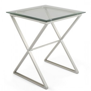 Kiana Glass Top Lamp Table In Clear With Satin Plated Base