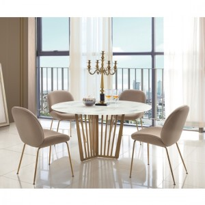 Kilmar Marble Effect Glass Dining Set In White With 4 Sand Velvet Chairs