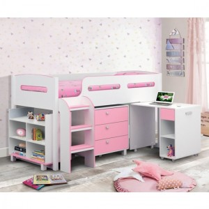 Kimbo Wooden Cabin Bed In Matt White And Pink