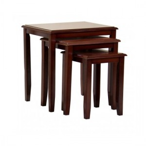 Kingfisher Solid Rubberwood Nest Of Tables In Mahogany