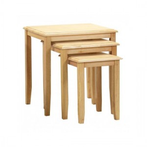 Kingfisher Solid Rubberwood Nest Of Tables In Maple