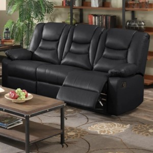 Kirk Bonded PU Leather Recliner 3 Seater Sofa In Black