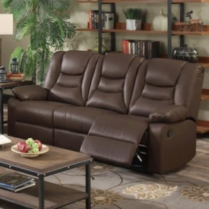 Kirk Bonded PU Leather Recliner 3 Seater Sofa In Chocolate