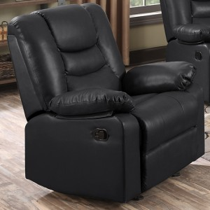 Kirk PU Leather Recliner 1 Seater Sofa In Black