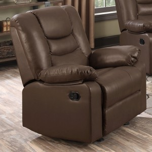 Kirk PU Leather Recliner 1 Seater Sofa In Chocolate