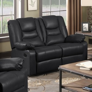 Kirk PU Leather Recliner 2 Seater Sofa In Black