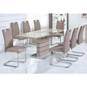 Knightsbridge Extending Dining Set In Cappuccino High Gloss With 6 Chairs