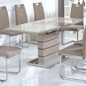 Knightsbridge Extending Glass Top Dining Table Cappuccino And Champagne