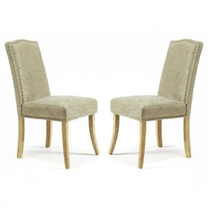 Knightsbridge Fudge Fabric Dining Chairs In Pair With Oak Legs