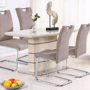 Knightsbridge Small Glass Top Dining Table In Cappuccino And Champagne