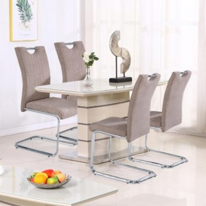 Knightsbridge Small Glass Top Wooden Dining Set In Cappuccino With 4 Chairs