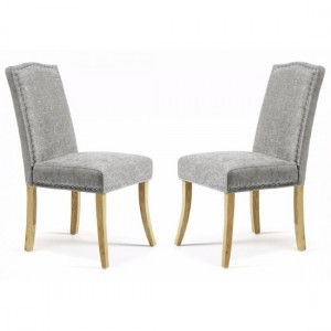 Knightsbridge Steel Fabric Dining Chairs In Pair With Oak Legs
