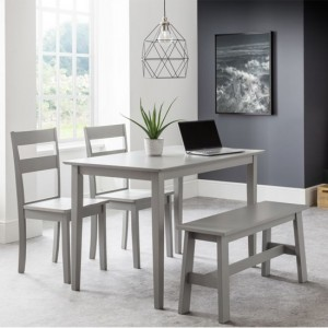 Kobe Wooden Dining Set In Lunar Grey With 1 Bench And 2 Chairs