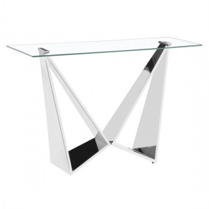 Konya Clear Glass Console Table With Silver Legs