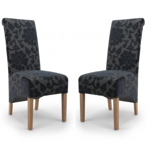 Krista Roll Back Baroque Velvet Charcoal Fabric Dining Chair In Pair