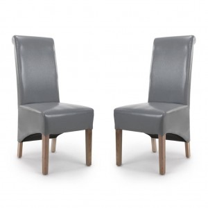 Krista Roll Back Bonded Grey Leather Dining Chair In Pair