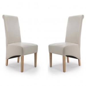 Krista Roll Back Bonded Ivory Leather Dining Chair In Pair