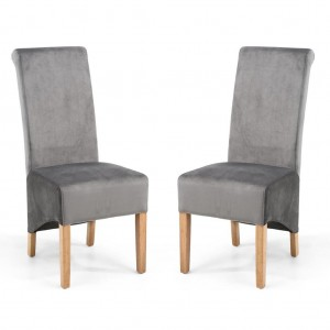 Krista Roll Back Brushed Velvet Grey Fabric Dining Chair In Pair