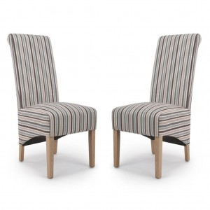 Krista Roll Back Chenille Stripe Duck Egg Fabric Dining Chair In Pair