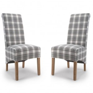 Krista Roll Back Herringbone Check Cappuccino Fabric Dining Chair In Pair
