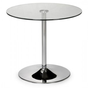 Kudos Clear Glass Round Dining Table With Chrome Pedestal