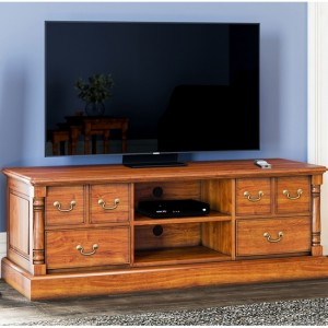 La Reine Wooden 1 Shelf 6 Drawers TV Stand In Light Mahogany