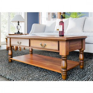 La Reine Wooden 2 Drawers Coffee Table In Light Mahogany