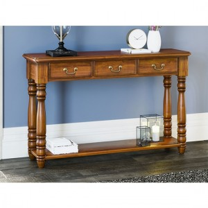 La Reine Wooden 3 Drawers Console Table In Light Mahogany