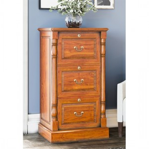 La Reine Wooden 3 Drawers Filing Cabinet In Light Mahogany