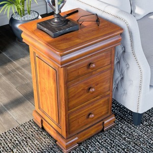 La Reine Wooden 4 Drawers Bedside Cabinet In Light Mahogany
